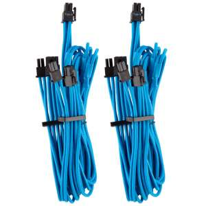 Corsair  Premium Sleeved PCIe Dual Cable Twin Pack (Gen 4) - Niebieski